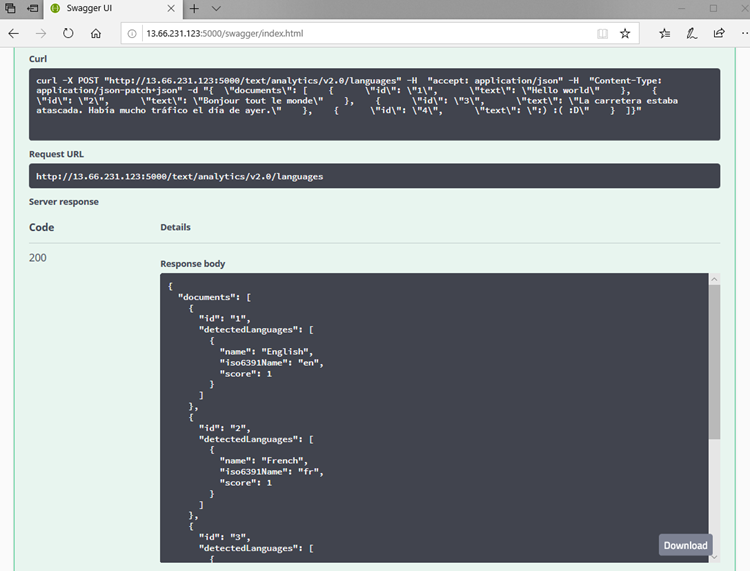 Screenshot of results after executing the API