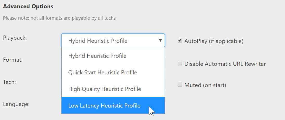 Low Latency Heuristics Profile selection