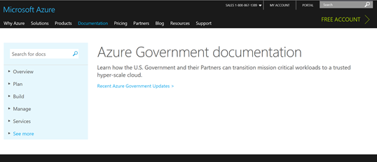 Azure Govt Documentation