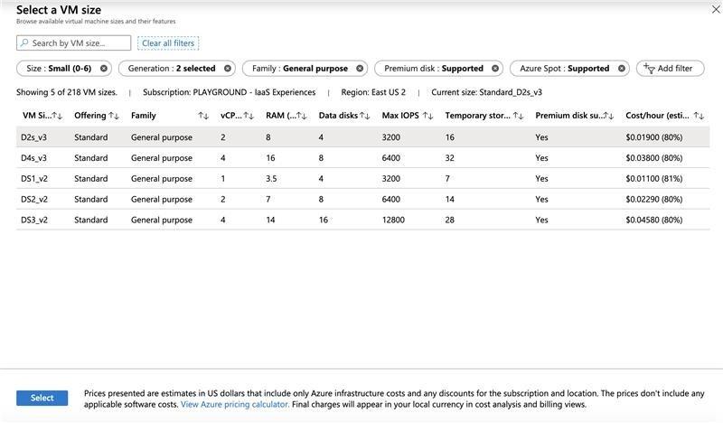 Panel de los tamaños de las máquinas virtuales del portal que muestra los tamaños y los precios al contado