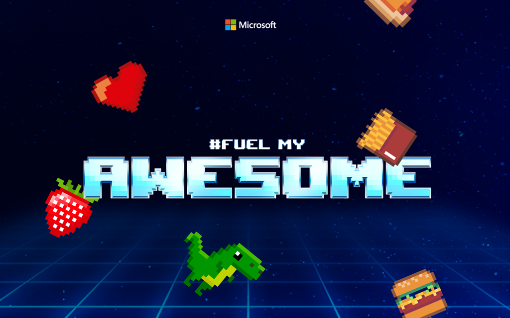 #FuelMyAwesome creative with 16-bit graphics