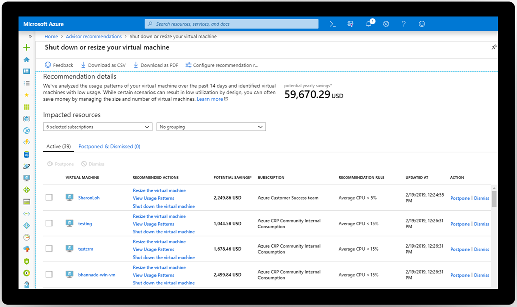 Azure Advisor recommendation details screen.