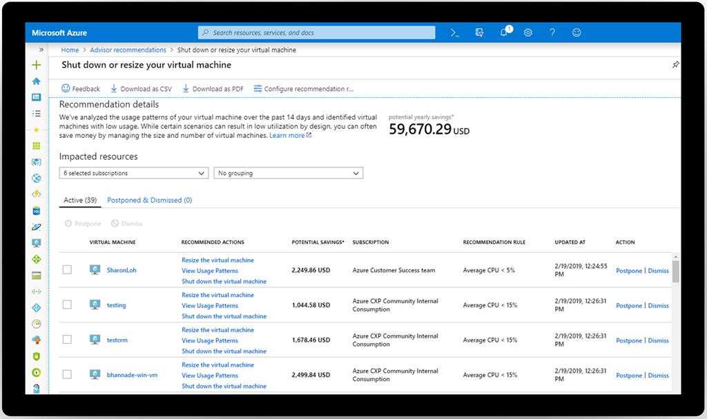 Azure Advisor の推奨事項の詳細画面