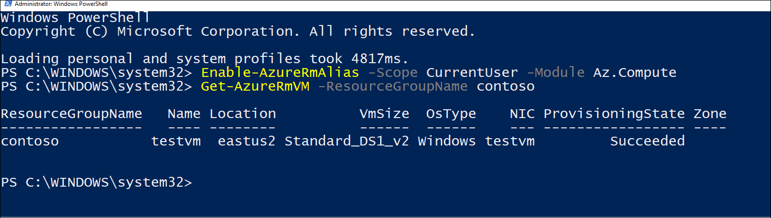 Screenshot of PowerShell session where Enable-AzureRm cmdlet was run.