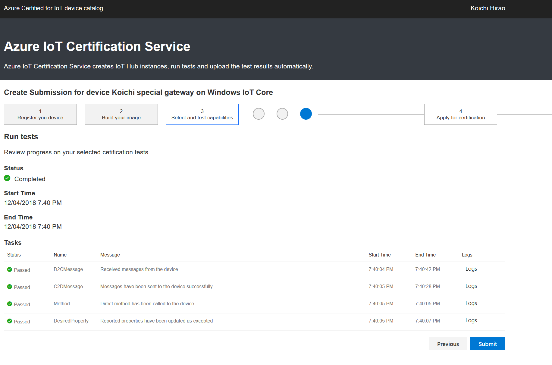 Test case run in Azure IoT Certification Service