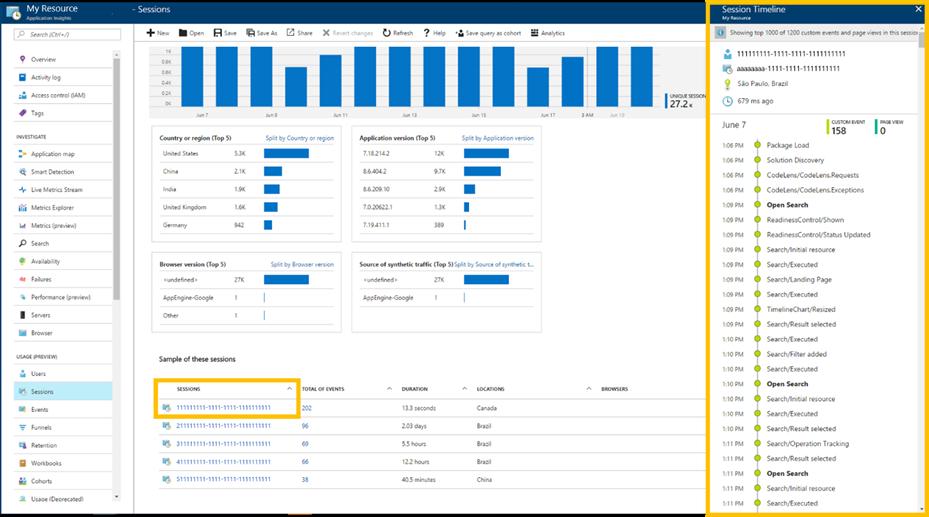 Screenshot highlighting Session Timeline in Azure Application Insights