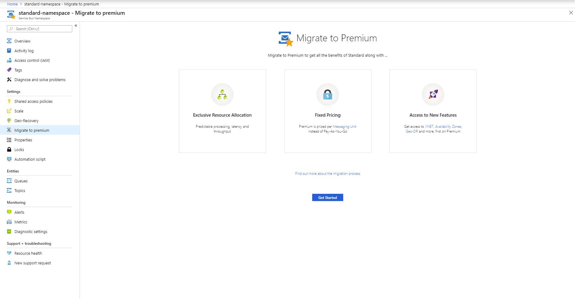 Azure Service Bus Standard で Premium に移行する