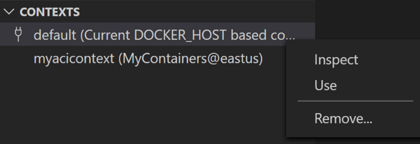 oContexts panel in the Docker Explorer displays all contexts and allows you to switch between them