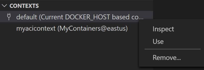 oEl panel Contextos del explorador de Docker muestra todos los contextos y permite cambiar entre ellos