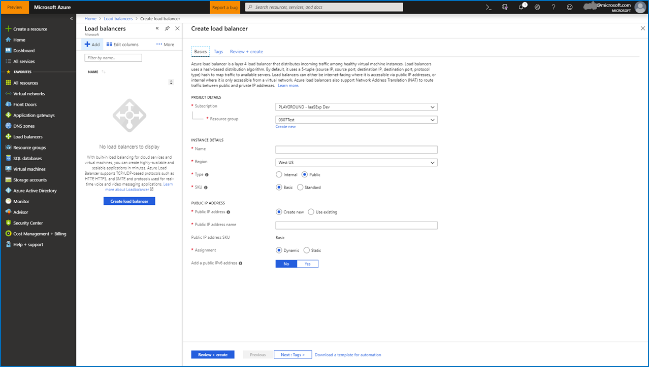 Screenshot of Load Balancer FSC in the Azure portal