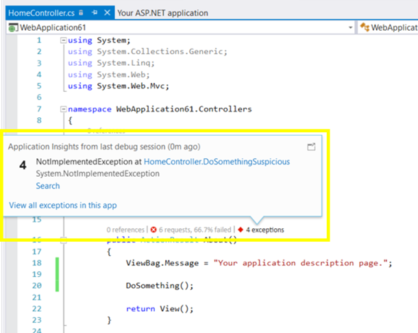 Local CodeLens with Application Insights in Visual Studio
