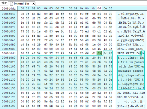 Screenshot of binary editor showing malcious binary packed with UPX packer