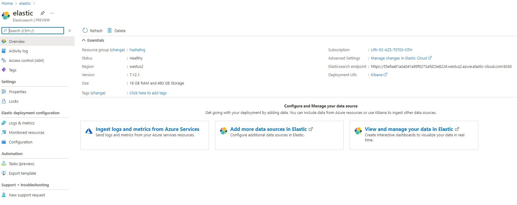 Integrated in Azure Portal Experience for Elastic service