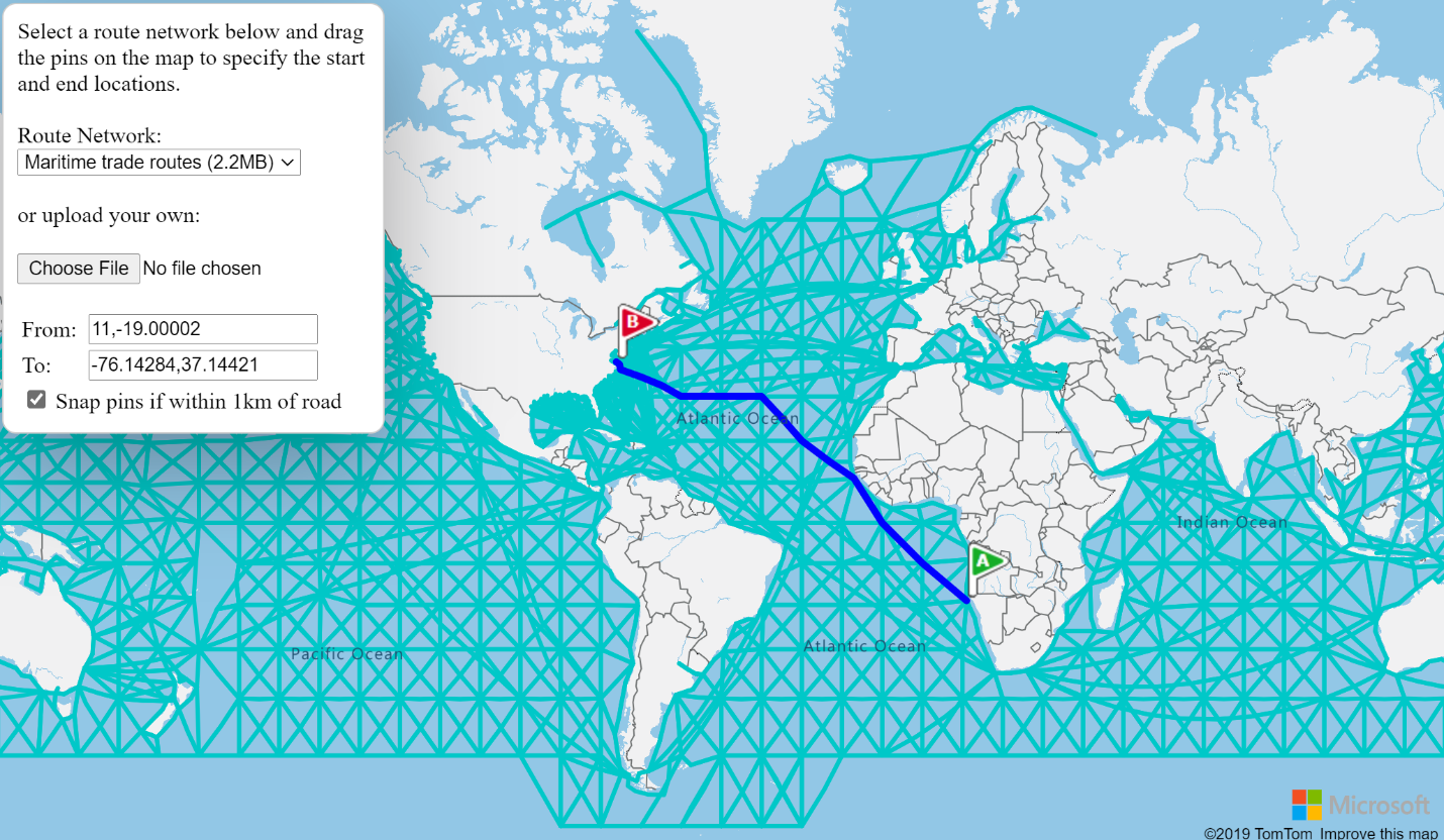 Map showing shortest path between points along shipping routes.