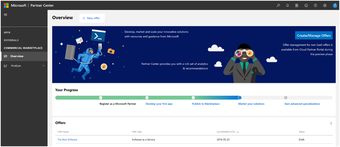 An image of the commercial marketplace ovierview page within Partner Center