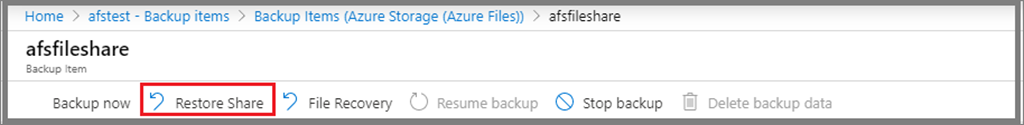 Restore file share using Azure Backup in the Azure portal.