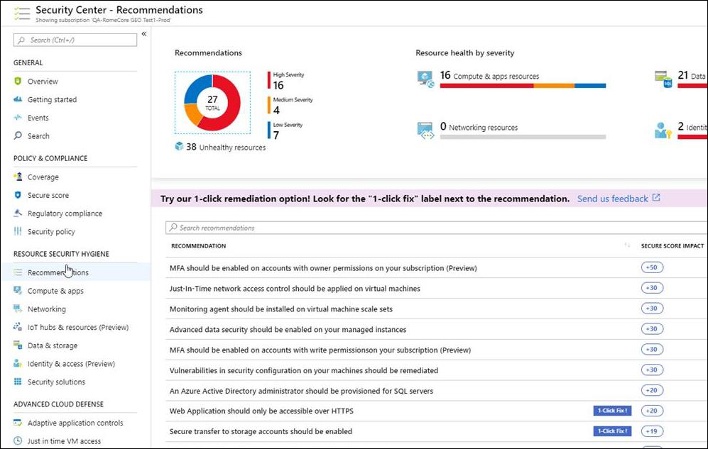 """Blatt """"Empfehlungen"""" in Azure Security Center"""