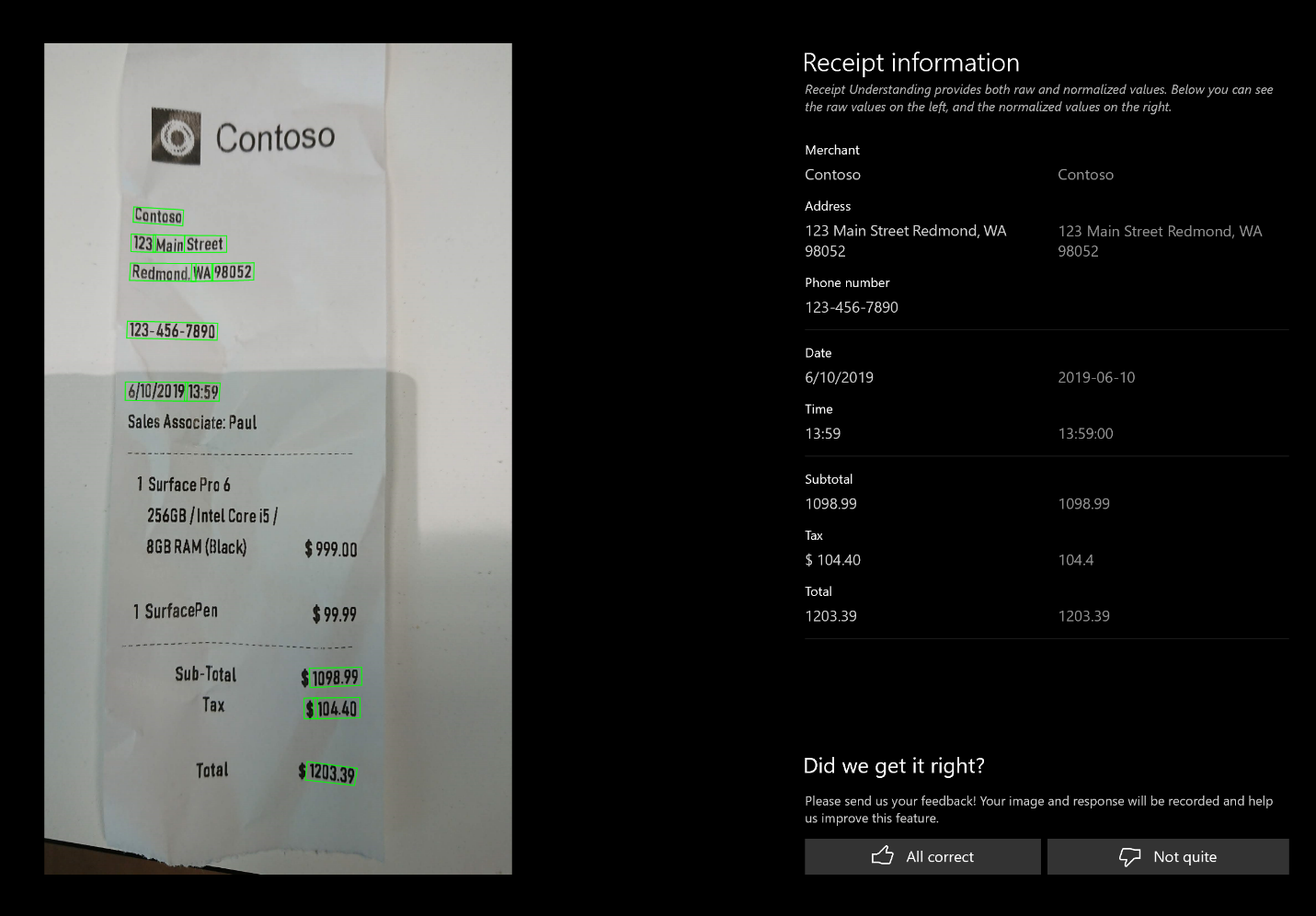 Sample receipt with extracted information from Form Recognizer's new prebuilt receipt feature
