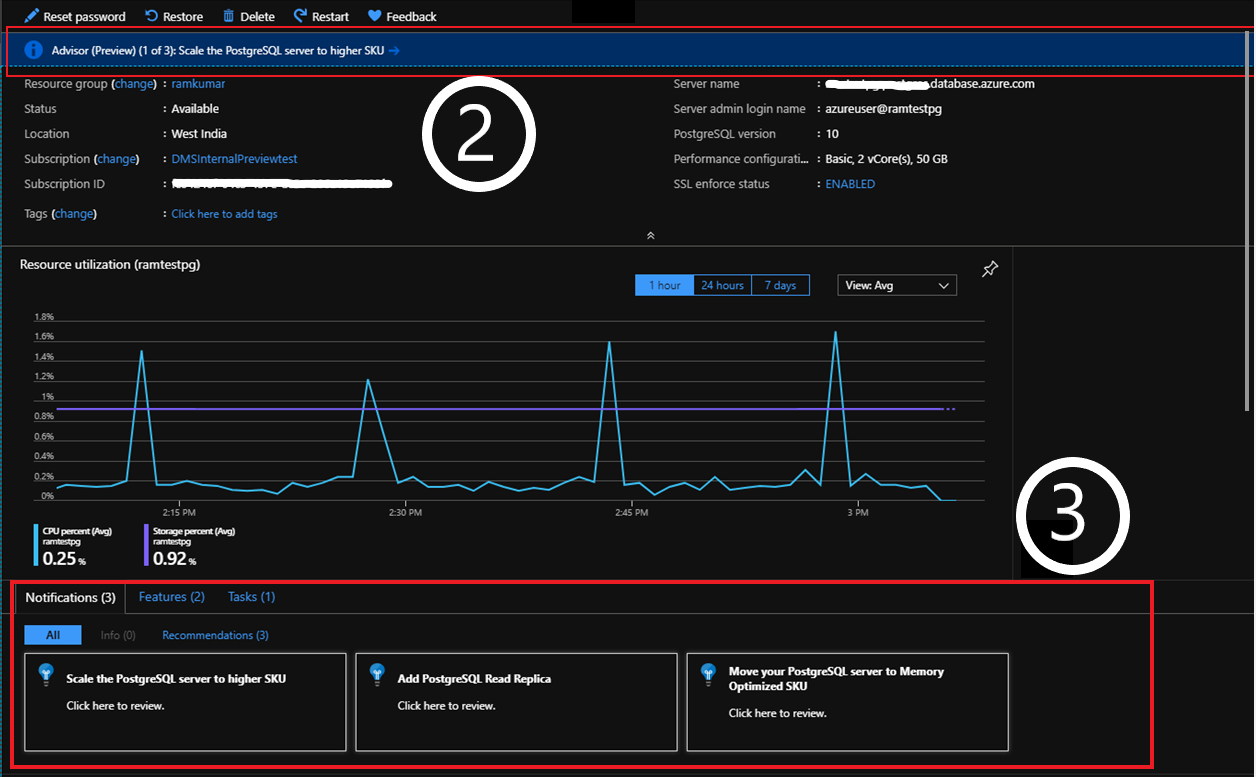 Screenshot of Azure Recommendations from the overview blade of your PostgreSQL resource