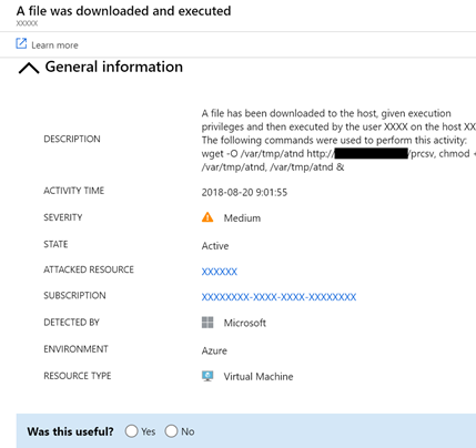Azure Security Center alert on a file downloaded and executed.