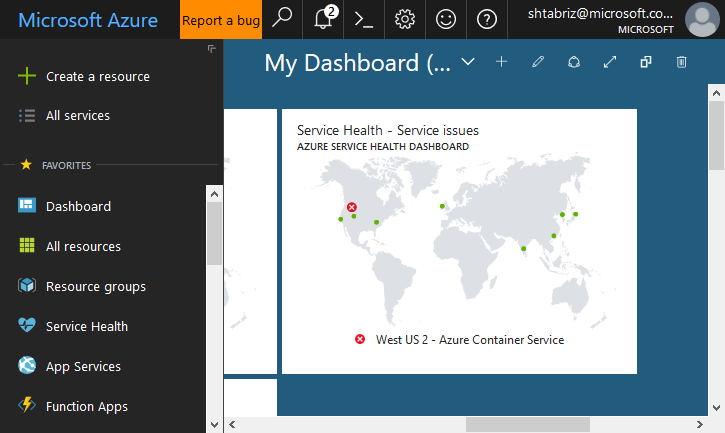 Azure Service Health map