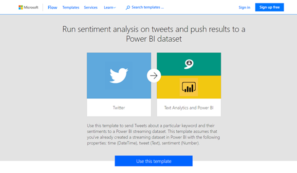 Screenshot of Microsoft Flow using Text Analytics