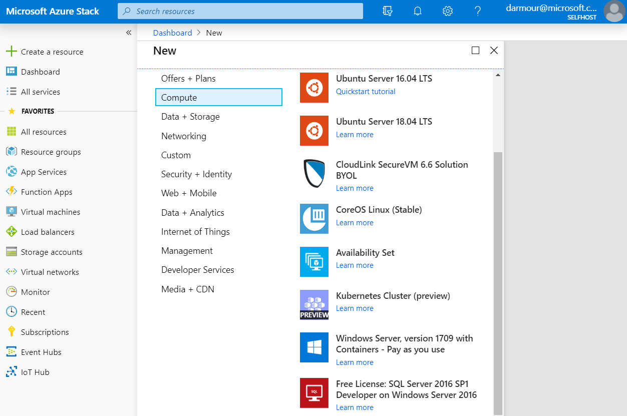 Screenshot of the developer or business unit view when deploying marketplace items in Azure Stack