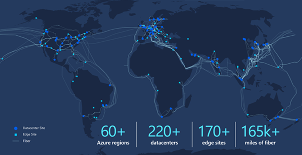 Azure Global Network map.