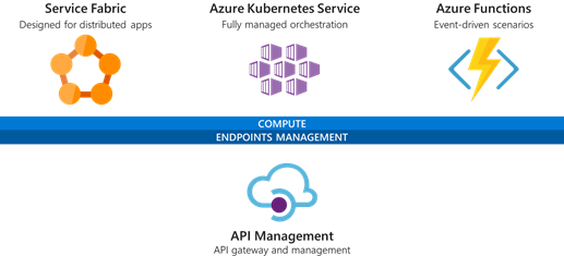 Services to build microservices in Azure like Service Fabric, Azure Kubernetes Service, Azure Functions, and API Management.