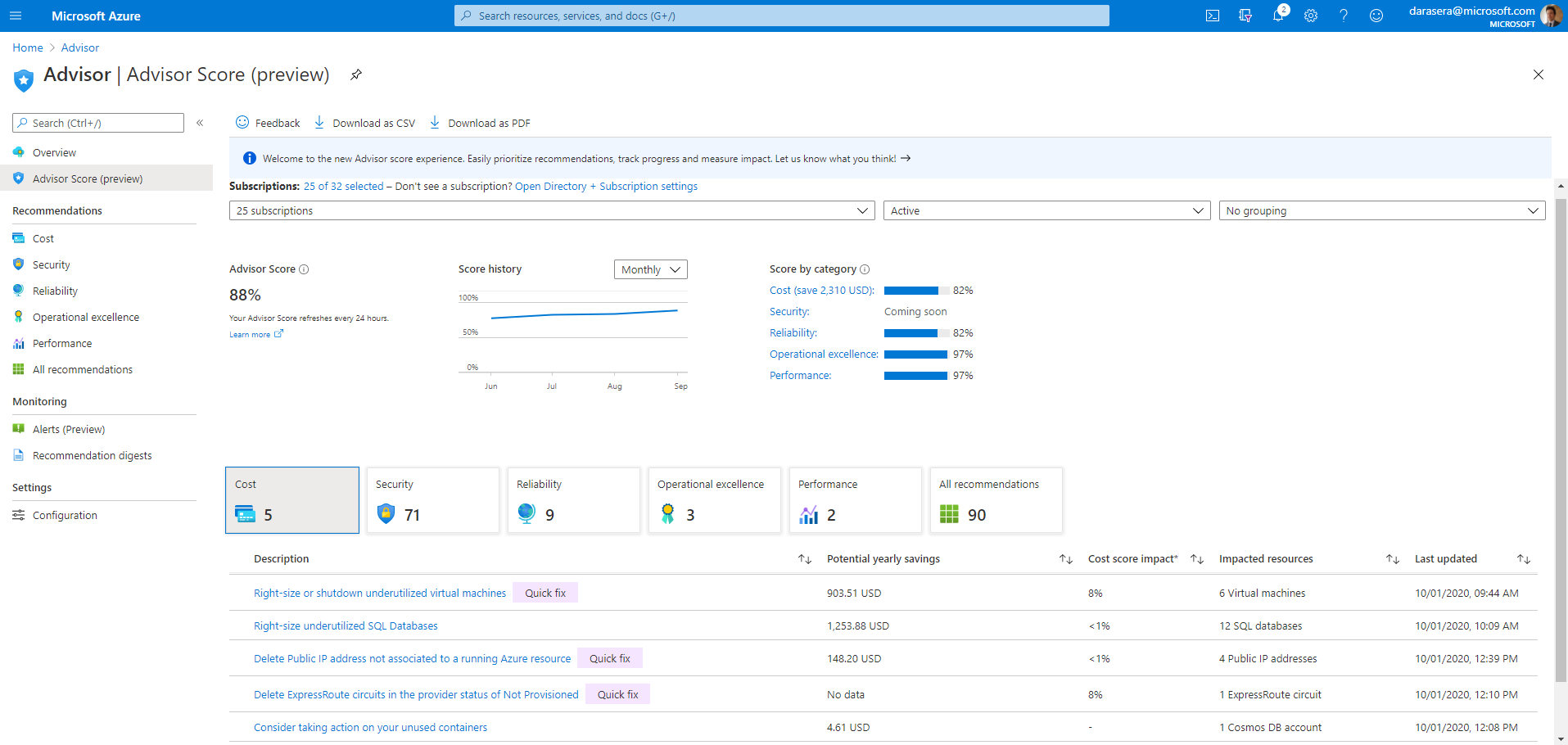 Azure portal における Azure Advisor スコアのエクスペリエンスのスクリーンショット