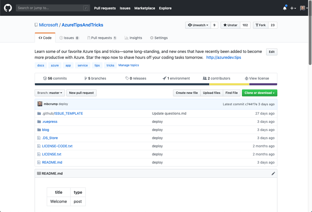An image showing the Azure Tips and Tricks GitHub repo.