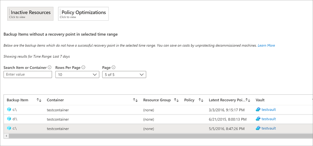 Use optimize tab in Backup Reports to find inactive resources