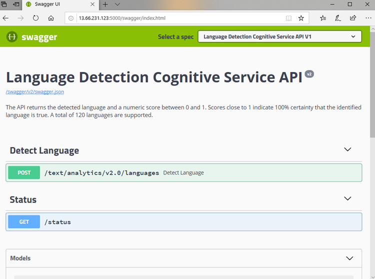 Screenshot showing a detailed description of the Language Detection Cognitive Service API