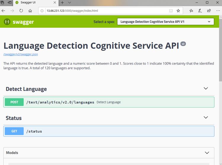 Screenshot showing a detailed description of the Language Detection Cognitive Service API