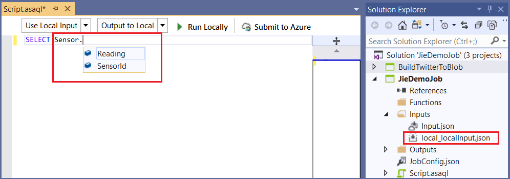 An image showing IntelliSense recommendations.