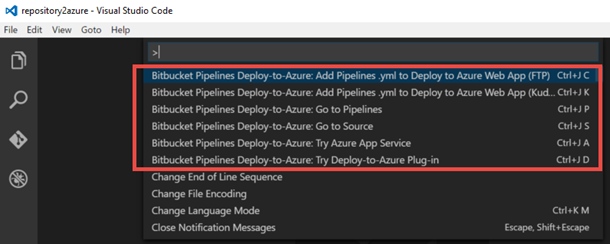Bitbucket Pipelines Deploy to Azure VS Code Extension
