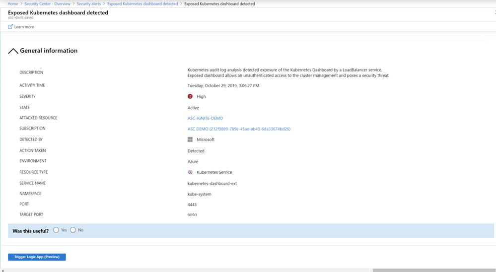 Azure Kubernetes Service のアラートの例