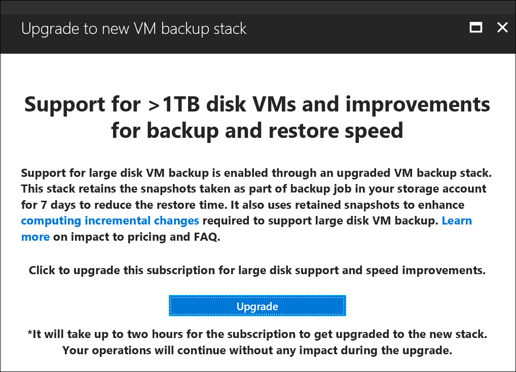 VM backup stack V2 enable screen