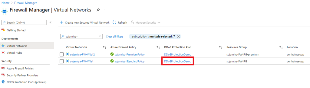 Figure 2: DDoS Protection Plan attached to a hub virtual network in Azure Firewall Manager