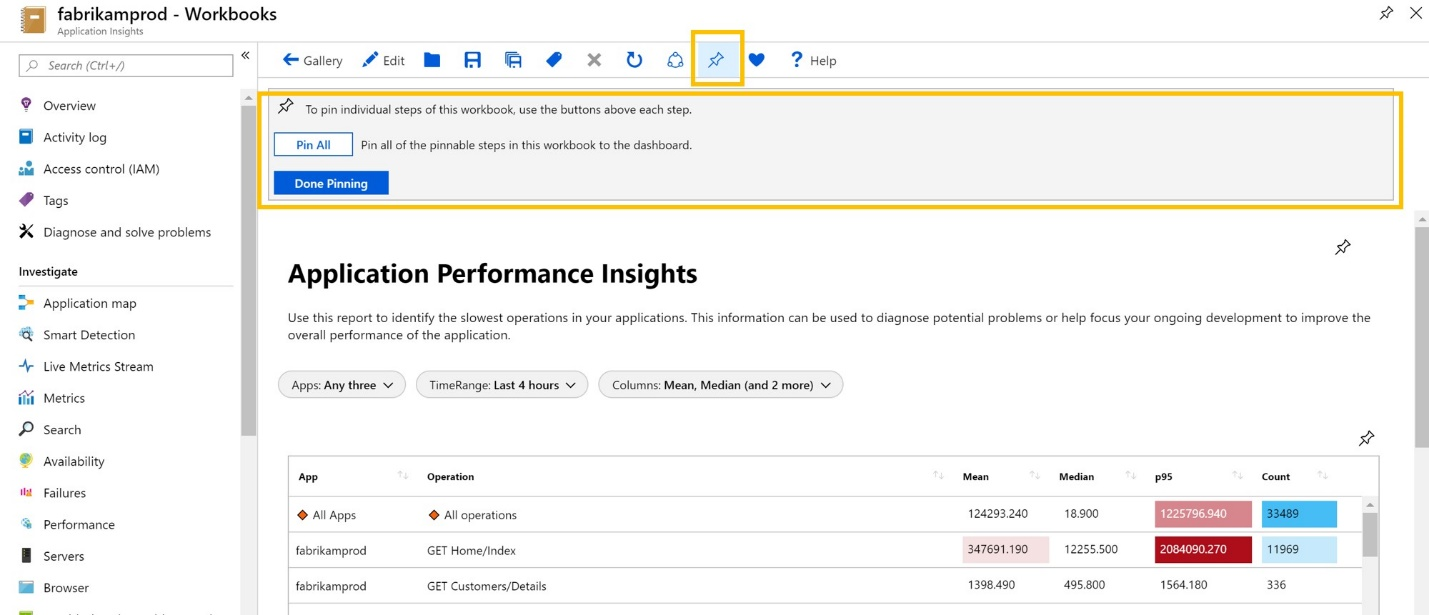 Screenshot of workbooks application performance insights