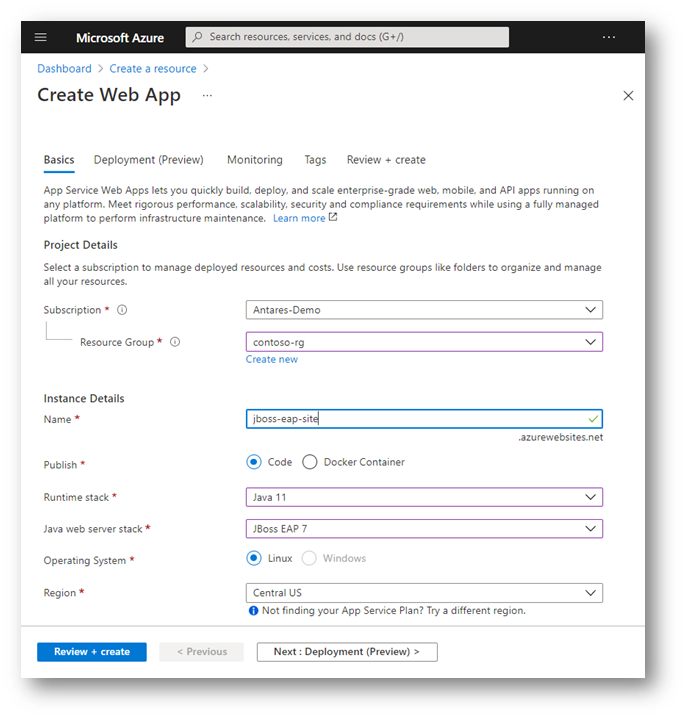 Figure 1 -  App service creation App Service interface showing the available options for creating a JBoss EAP application.