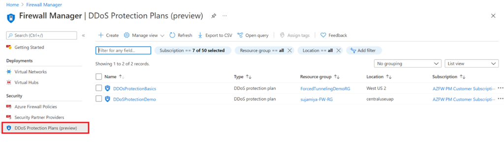 Figure 3: View of DDoS Protection Plans in Azure Firewall Manager
