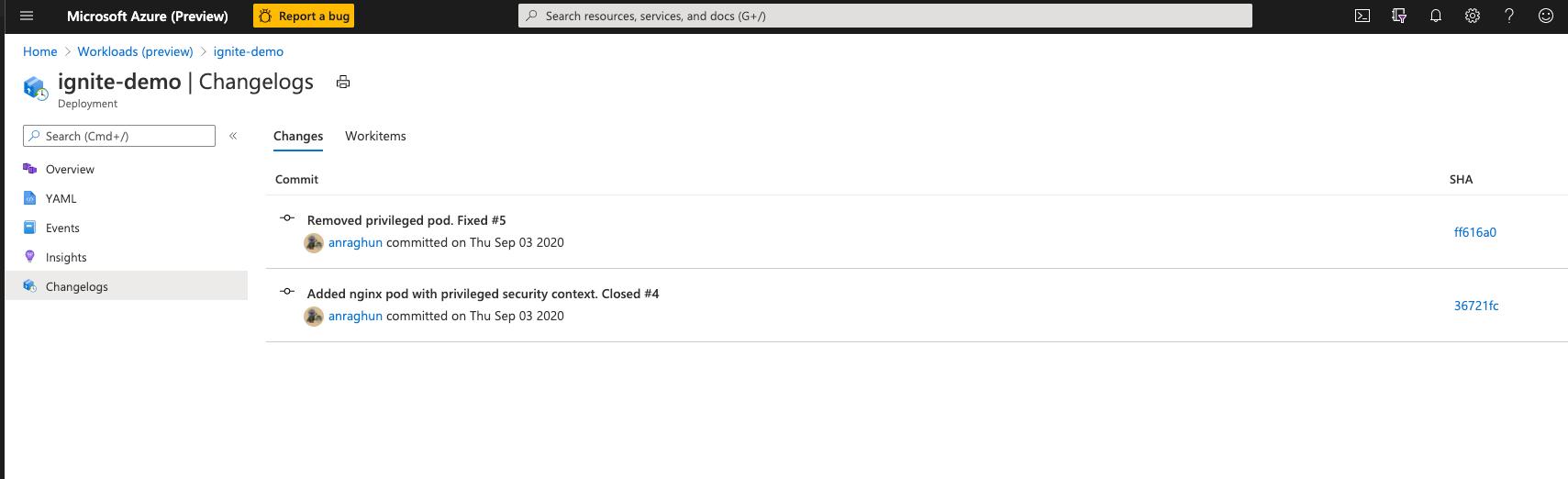 Ansicht eines Änderungsprotokolls im Azure-Portal