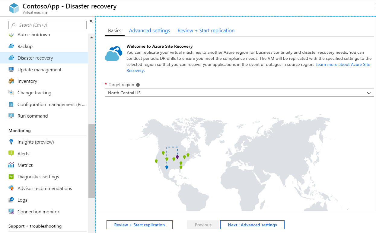 Screenshot of disaster recovery experience in the Azure portal