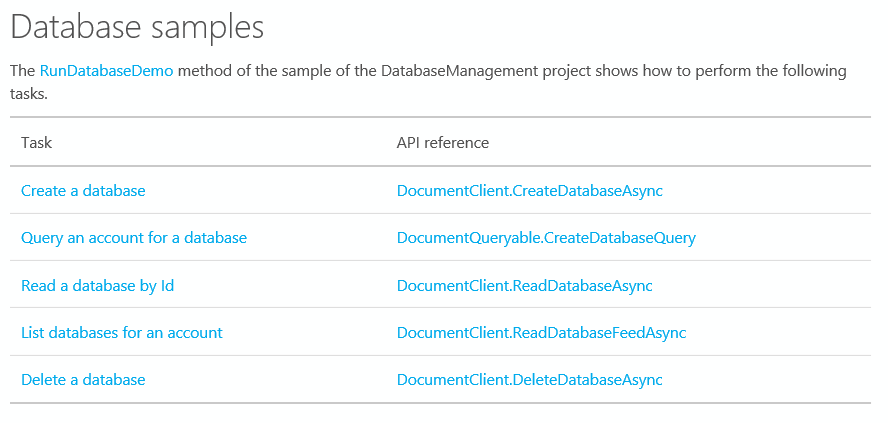 The most common DocumentDB database tasks with links to samples and API reference.