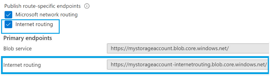 Enable both routing options for Azure Storage