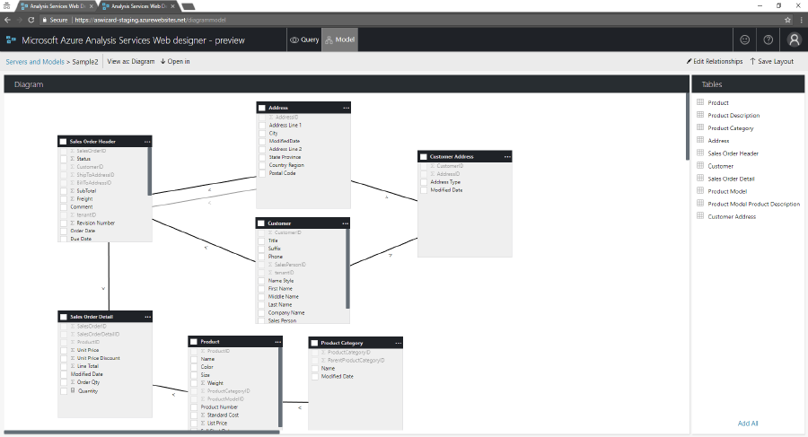 Azure analysis services web designer adds visual model editing to this new diagram editor was designed for making changes on models with a large number of tables in mind to make the best use of screen space ccuart Images