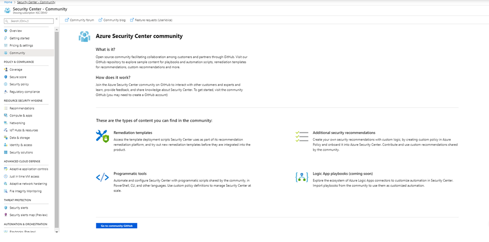 Screenshot of the Azure Security Center Community page.