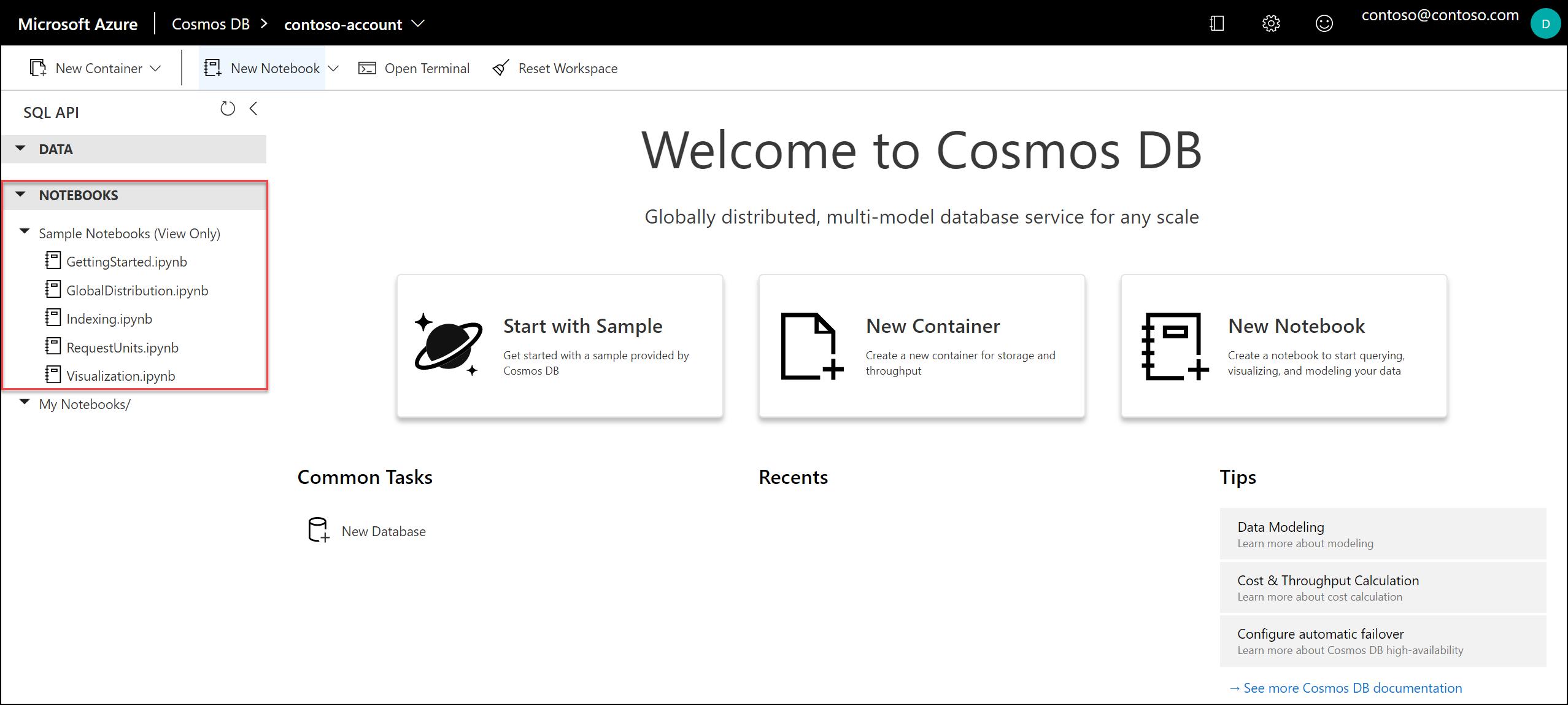 Azure Cosmos DB ノートブックのサンプル ギャラリー。