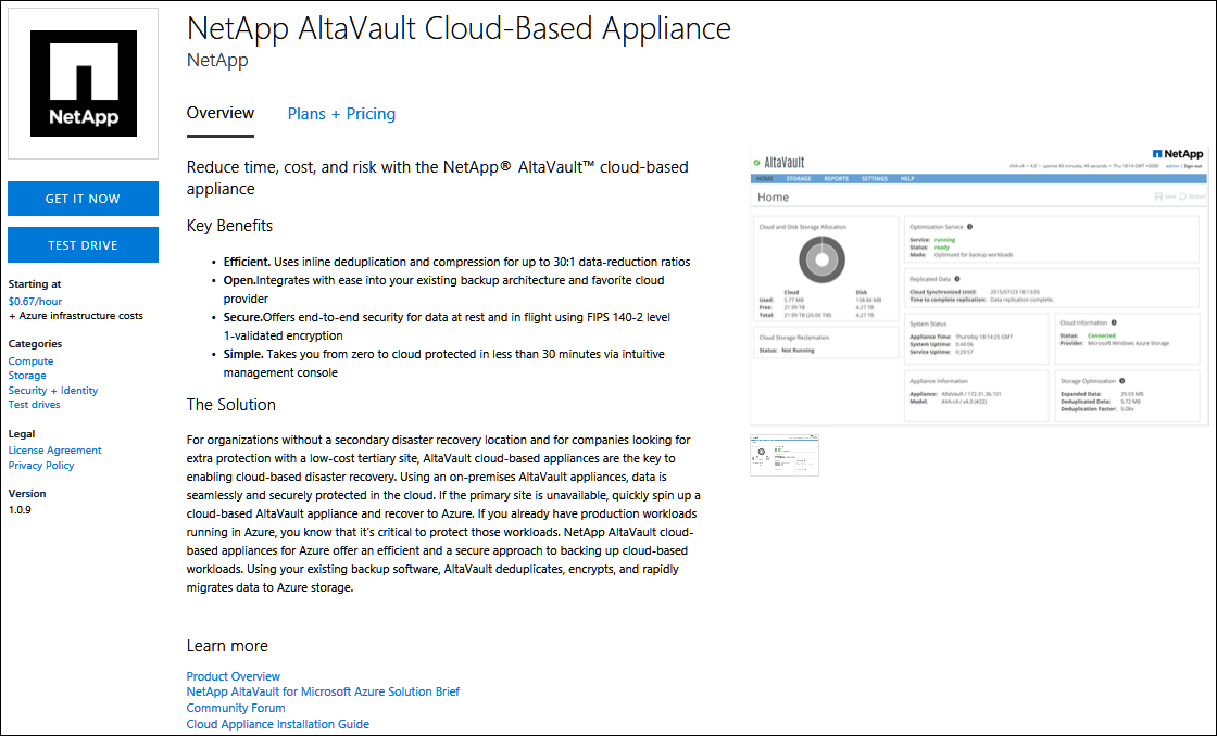 NetApp AltaVault product page